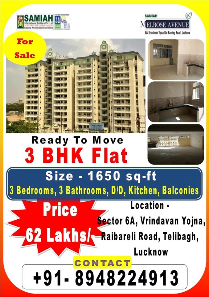 Ready To Move 3 BHK Flat In Lucknow